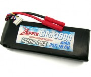 Zeppin Racing 18.5 25C 3600mah Lipo with gold bullet 4mm with extra T plug