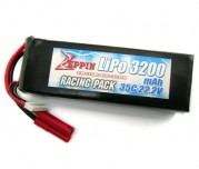 Zeppin Racing 22.2v 35C 3200mah Lipo with gold bullet 4mm with extra T plug